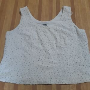 R&M Richards Womens Beaded White Tank Top